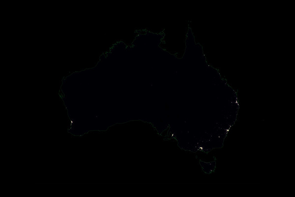 Population density heatmap of Australia