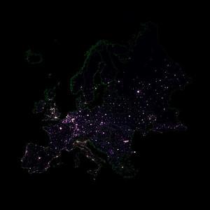 Population density heatmap of Europe