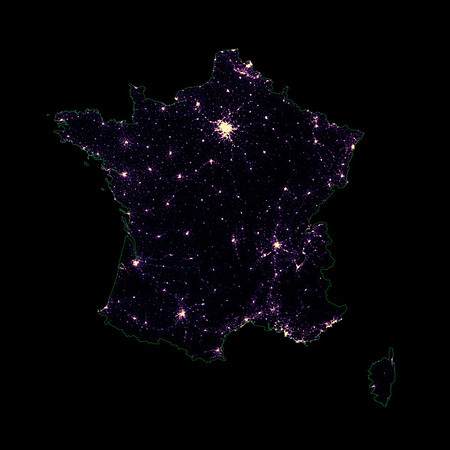 Population density heatmap of France