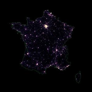 Population density heatmap of France