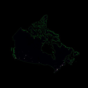 Population density heatmap of Canada
