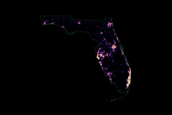 Population density heatmap of Florida