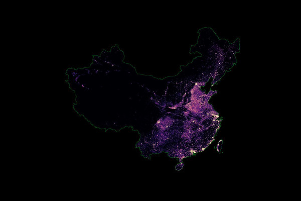 Population density heatmap of China and Taiwan
