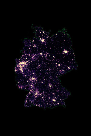 Population density heatmap of Germany