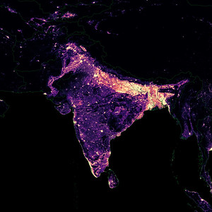 Population density heatmap of South Asia