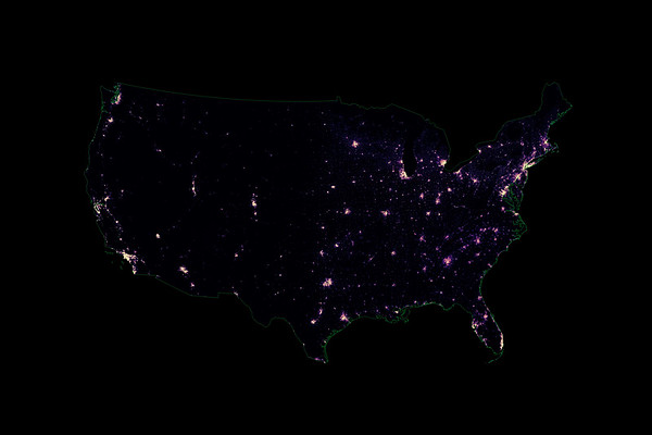 Population density heatmap of the contiguous United States