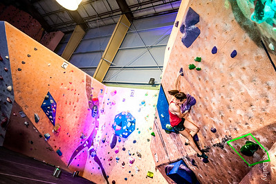 Climber in a finals competition at Earth Trek's, Timonium.