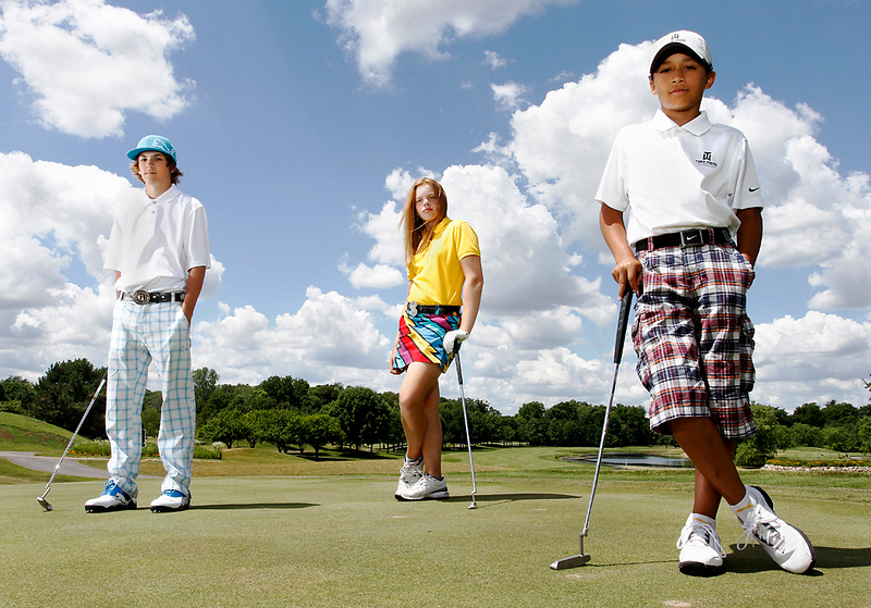 Erik Anderson/Rockford Register Star Grant Germano, 13, (from left) Maddasyn Pettersen, 12, and Marcus Smith, 10, stand on the putting green Friday, June 22, 2012, at Aldeen Golf Course in Rockford. All three golfers are currently Rockford's greatest golfing prodigies while they are also good friends.