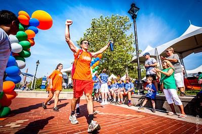 Man finishing the brain cancer awareness walk in Baltimore city.