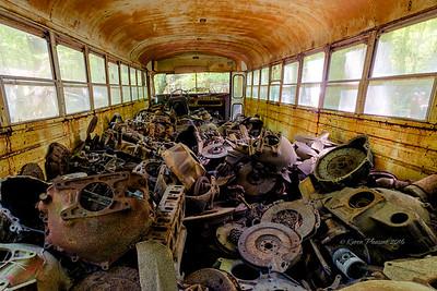 Inside old school bus