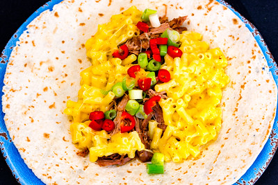 Pulled pork and macaroni cheese tortillas