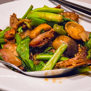 Cha siu and monk vegetables
