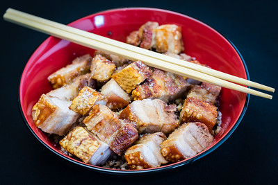 Roasted belly pork with quinoa rice