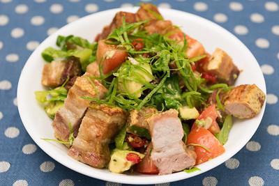 Pork rashers and salad