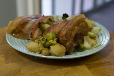 Sunday dinner. Roast pork rashers with cauliflower and broccoli.