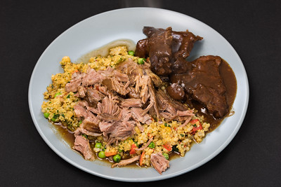Pulled pork with beef and pearl couscous