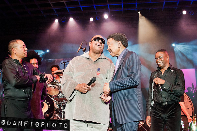 Stevie Wonder joins Earth, Wind & Fire for their 40th Anniversary party at the 2011 Monster Cable Retailer Awards Show and at the Paris Las Vegas Hotel.<br /> ©2011 DanFigueroa<br /> For usage rights please contact:<br /> Dan@DanFigPhoto.com