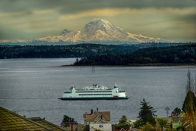 26.     Port Townsend Ferry with Mount Rainier Clear