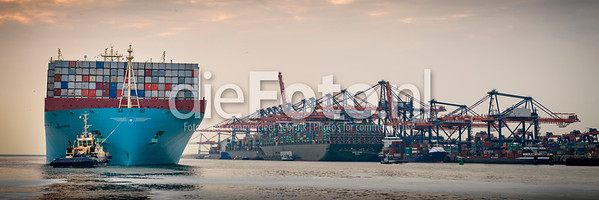 Marie Maersk being pushed out to sea by a tugboat in the Port of Rotterdam - Fotograaf Rogier Bos