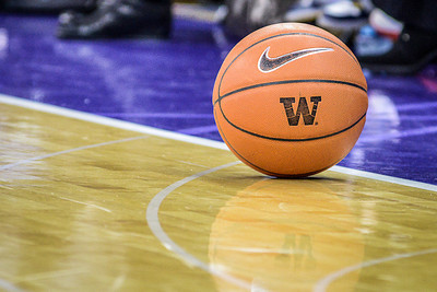 The game ball sits still during a timeout as Washington Huskies take on the Arizona Wildcats at Alaska Airlines Arena, January 31st 2013.