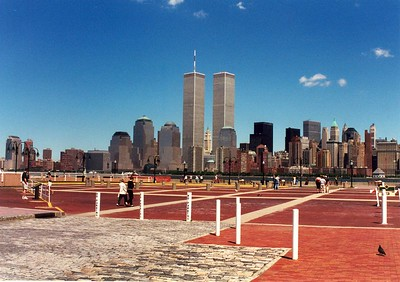 The Twin Towers June 2000 from New Jersey - Taken with an old EOS film camera