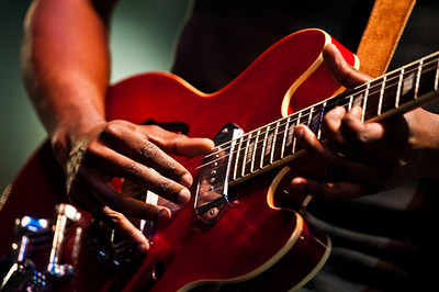 Blues rock musician Gary Clark, Jr. performing at the 2012 Festival International de Louisiane in Lafayette, LA.