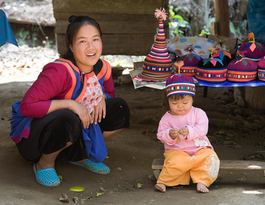 Mom, Baby, and Hats, Lhisu Village