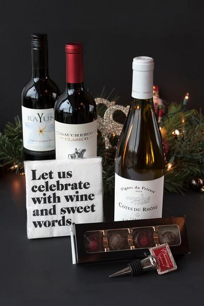 wine, chocolates, stopper, napkins