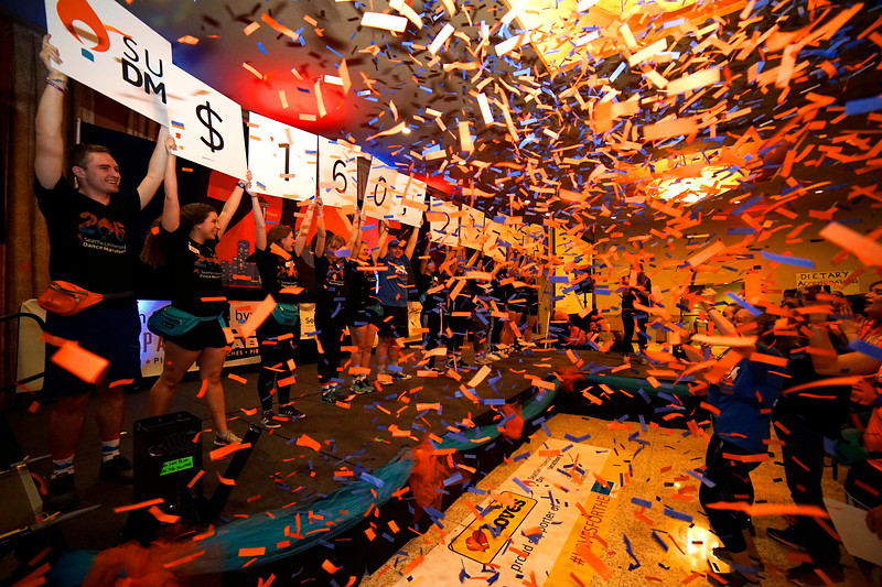 Seattle University's dance marathon raises $160,217 to benefit Seattle Children's Hospital's Strong Against Cancer Initiative.<br /> <br /> Photo by: Winston O'Neil