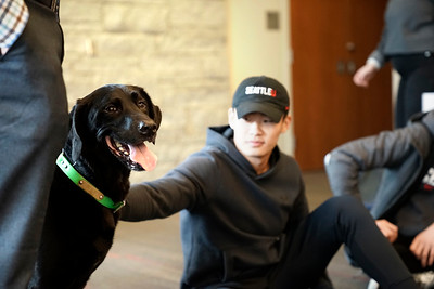 March 11th, 2019 - Destress With Dogs - Students gather to destress for finals week while spring quarter approaches.    Photo by: Winston O'Neil