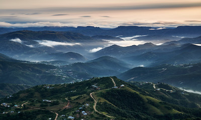 Aerial view of an early morning over the misty and quiet landscape of Monteseel. Inchanga, Durban, KwaZulu-Natal, South Africa