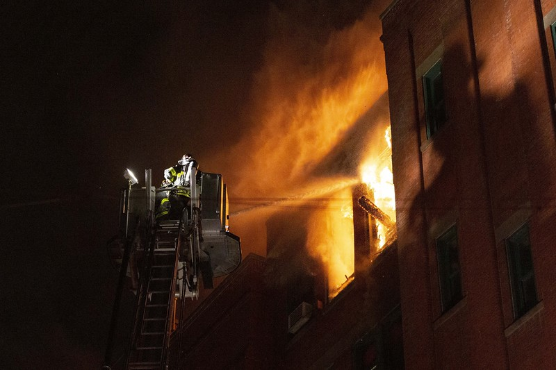 NEW YORK - January 23, 2020: for NEWS.  Firemen from the FDNY battle a 3-alarm fire on Mulberry and Bayard Street in Chinatown. (Photo by: Taidgh Barron/NY Post)