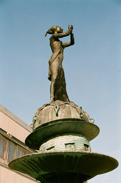The spirit of Caroline Mathilde (sculpture by Mogens Møller) in Hørsholm, Denmark (Fuji Superia 200 film)