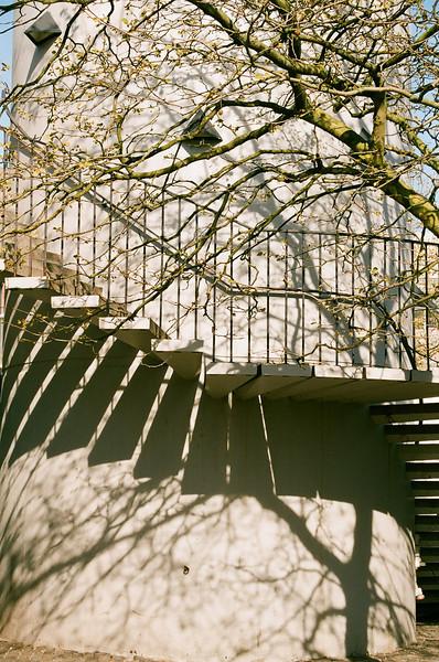 Spiral staircase outside of Hørsholm Midtpunkt, Hørsholm, Denmark (Fuji Superia 200 film)