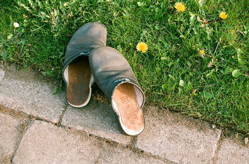My clogs...and dandelions (Fuji Superia 200 film)