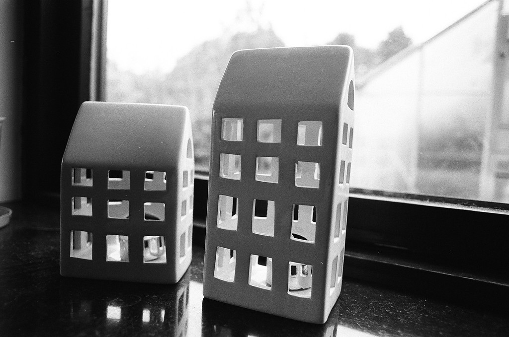 Ceramic houses (Tri-X 400 film)