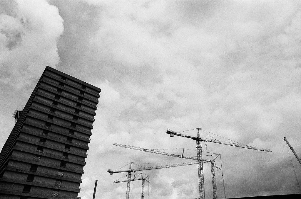 Hospital and cranes (Tri-X 400 film)
