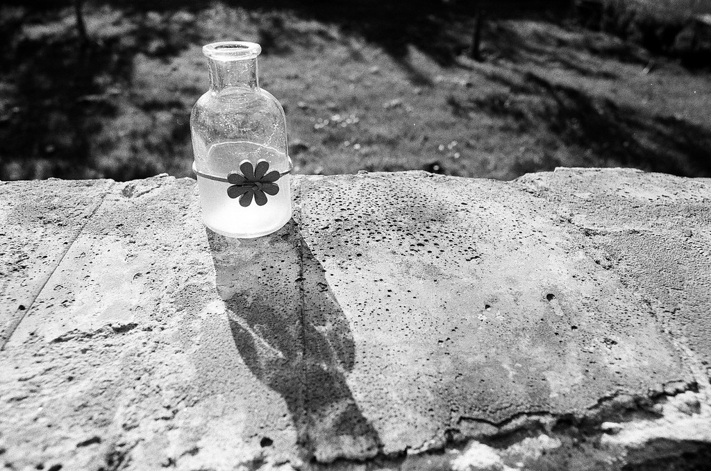 Bottle shadow (Tri-X 400 film)