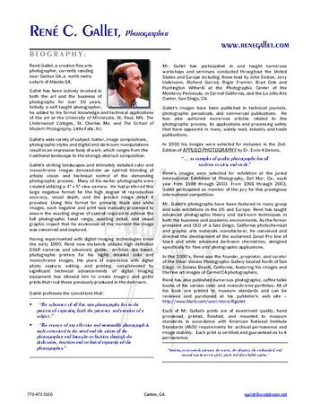 Biography - René C Gallet    e-mail René Gallet