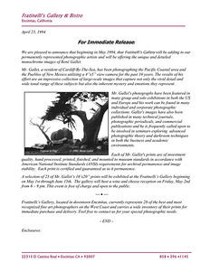 Press Release - 1994  Fratinelli's Gallery, Encinitas, CA  e-mail René Gallet