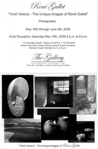 'The Gallery' (Solo Exhibit)   Canton, Georgia - May/June, 2009 e-mail René Gallet