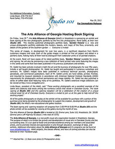 Press Release - June 2012  Arts Alliance of Georgia - Studio 101 Woodstock, GA  e-mail René Gallet