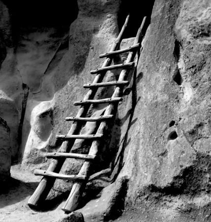 <center><h2>'Portal Ladder'</h2>Frijoli Canyon Bandelier National Monument, NM</center>