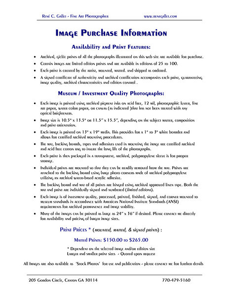 Image Purchase Information page 1