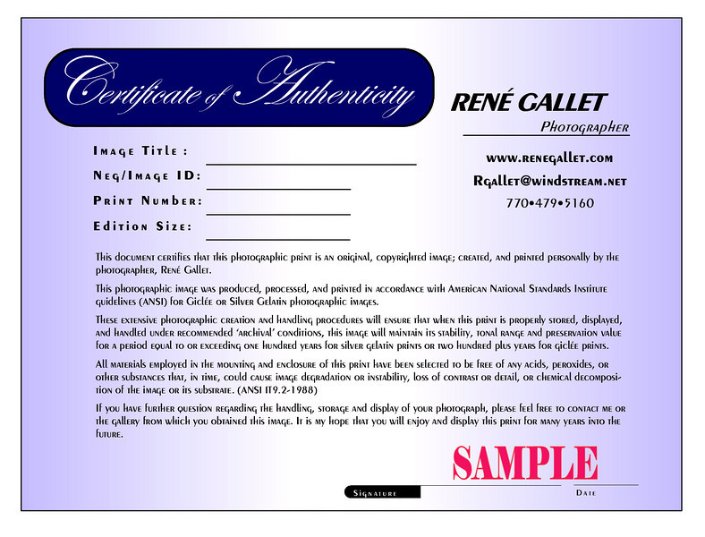 "<center><h2>'Certificate of Authenticity'</h2>   <em>A certificate of authenticity accompanies each print that is ordered</em><center> <h2><a href=""mailto:rgallet@windstream.net"">e-mail René Gallet</a></center></h2>"