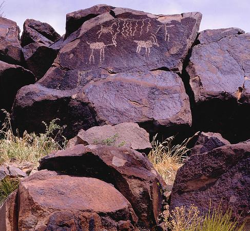 <center><h2>'Deer Hunter Petroglyphs'</h2>  China Lake, CA</center>