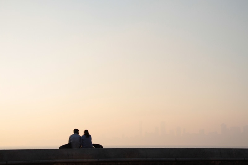 Romantic view of the pollution sky. Can you see the silhouette of the serene city through the smog? Mumbai, India.