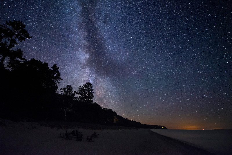 The Milky Way over the shore of Lake Michigan