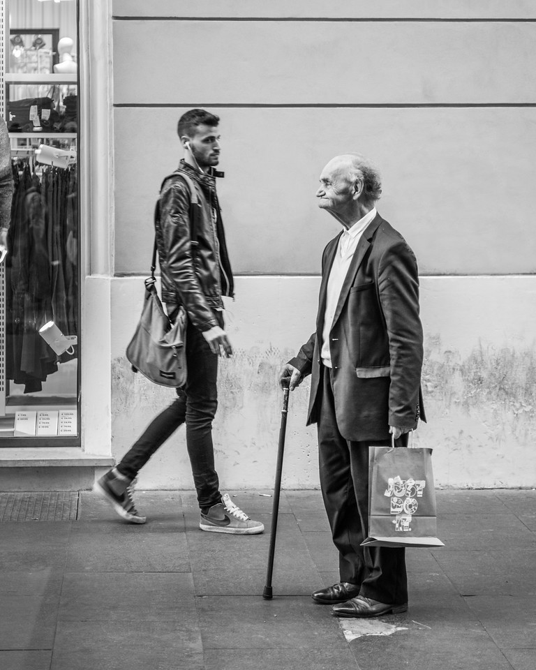 Rome Old Cane Man Shopper