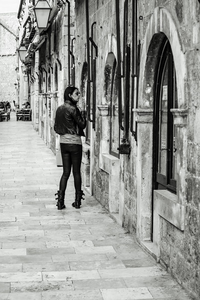 Dubrovnik Black Leather Girl